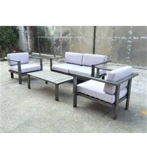 Julio Patio Set/4 Grey - 2 chairs (32x32x26 in) 1 sofa (65x32x26 in) 1 table (46x22x16 in), Full Al