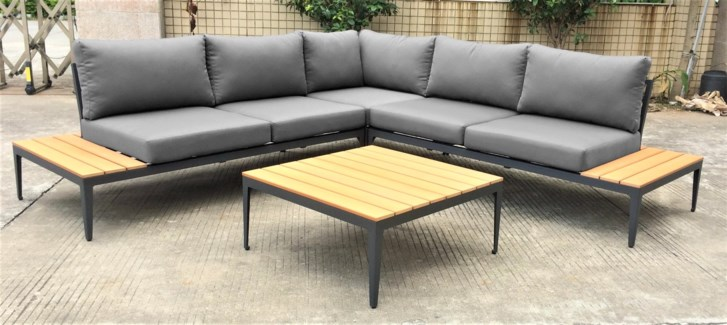 Jose Patio Set/2 - 1 sectional sofa (98x98x27 in) 1 table (31x31x14 in), Full Aluminum Frame