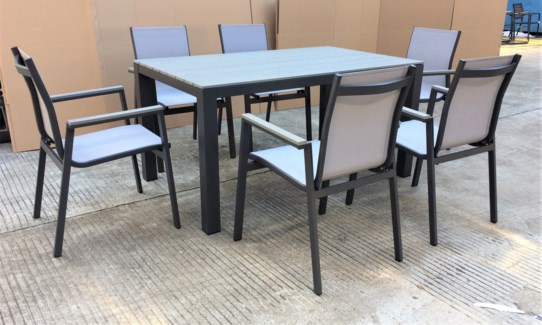 Fernando Dining Set/7 - 1 table (35x59x29 in) 6 chairs (22x24x35 in), Full Aluminum Frame