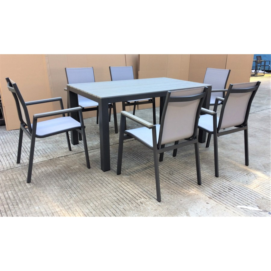 """""""Fernando Dining Set/7 - 1 table (35x59x29 in) 6 chairs (22x24x35 in), Full Aluminum Frame"""""""