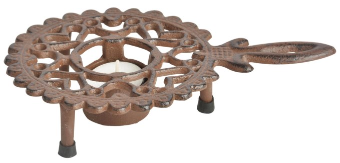 Round hotplate with handle. Cast iron. 21,6x14,4x4,7cm. oq/24,mc/24