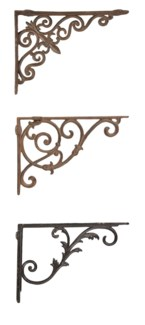 Bookshelf bracket assortment. Cast iron. 4,2x26,3x19,2/4,7x27,2x19,4/4,9x27,5x19,9cm. oq/12,mc/16