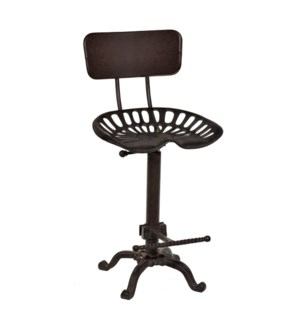 Adjustable Tractor Seat with Backrest Antique Black Finish