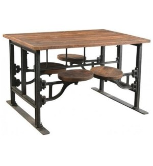 Industrial 4 Seater Swing Out Table, top size: 54 x 33 x 32H