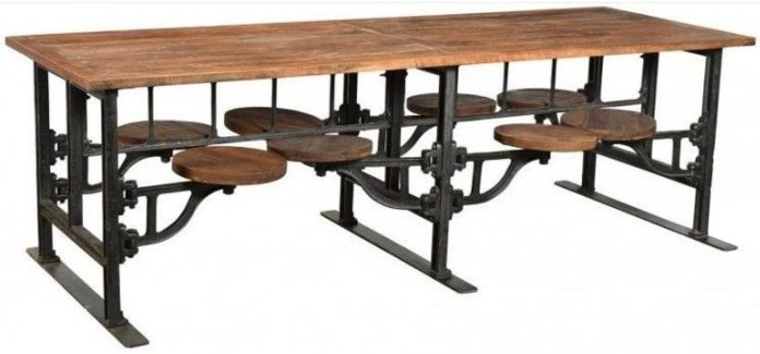 Industrial 8 Seater Swing Out Table,