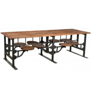 Industrial 8 Seater Swing Out Table Table, top size: 100 x 33 x 32H