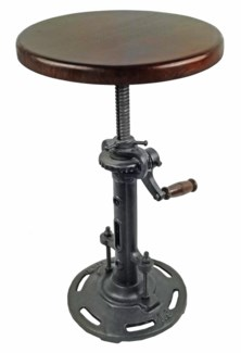 Cast Iron Stool With Wood Seat - Adjustable - 14Dx18-27inch,