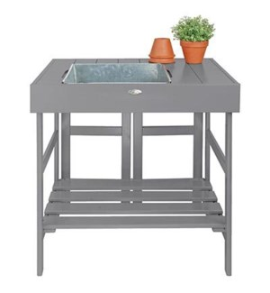 """Potting table grey. Pinewood, zinc. 78,5x58,0x81,8cm. oq/2,mc/1 Pg.125"""