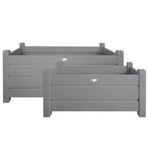 Rect. planters set of 2 grey S
