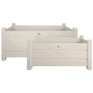 Rect. planters set of 2 white S/L. Pinewood. 59,1x30,3x30,1cm/79,0x40,0x40,2cm. oq/2,mc/1 Pg.127