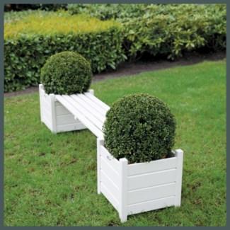 Planters with bridge bench white. Pinewood. 188,0x40,0x40,2cm. oq/2,mc/1
