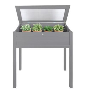 """Tall cold frame grey. Pinewood, glass. 90,0x50,5x101,0cm. oq/2,mc/1 Pg.125"""