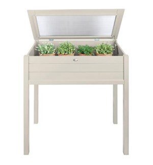 """Tall cold frame white. Pinewood, glass. 90,0x50,5x101,0cm. oq/2,mc/1 Pg.127"""