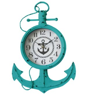 Anchor Wall Clock Teal, 13.8x2.37x21inch