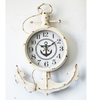 Anchor Wall Clock Rustic White Metal/MDF/Glass 13.8x2.37x21inch ETA Aug 2018