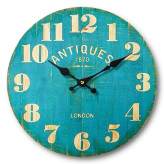 Antique Restaurant Clock, Teal Large