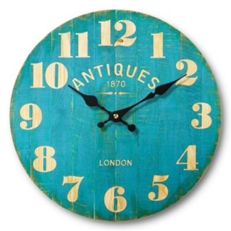 Antique Restaurant Clock Medium, Teal