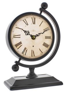 Globe Stand Roman Numeral Clock, 22.5x11.5x16 Inches