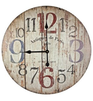Wood Design Numbered Clock, 23.8 D
