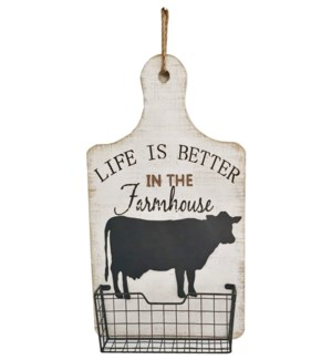 Farmhouse Cow Wall Basket OS