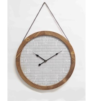 Brick Print Clock White