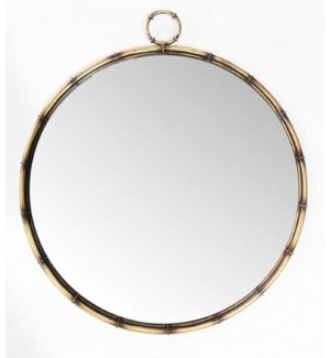 """Round wall mirror, antique brass finish"""