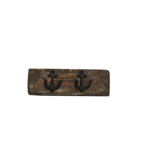 """Anchor Hook Board Dark Walnut S, 2 Black Anchor (dble) hooks. 2x5.5x18inch"""