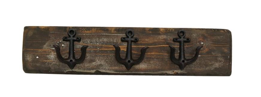 Anchor Hook Board Dark Walnut M, 3 Black Anchor (dble) hooks. 2x5.5x24inch