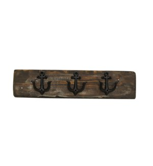 """Anchor Hook Board Dark Walnut M, 3 Black Anchor (dble) hooks. 2x5.5x24inch"""