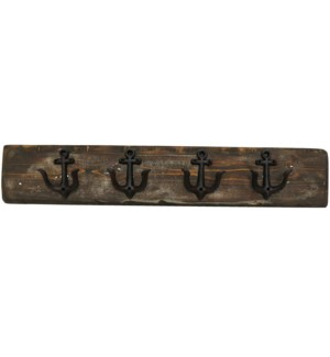 """Anchor Hook Board Dark Walnut L, 4 Black Anchor (dble) hooks. 2x5.5x30inch"""