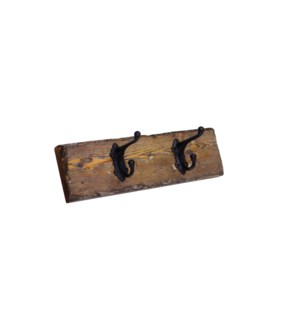 Dbl Hook Board Dark Walnut S, 2 Double Hooks 2x5.5x18inch
