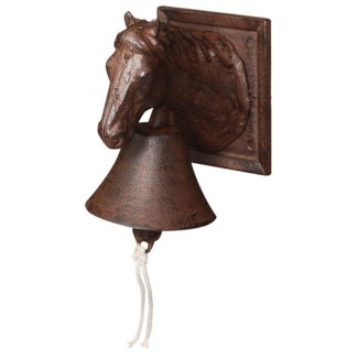 Doorbell horse head. Cast iron, cotton cord. 12,2x16,6x18,5cm. oq/6,mc/6 Pg.43