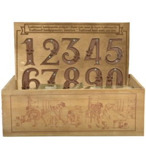 Display crate with house numbe