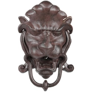 Door knocker lion head, Cast iron - 5.3x3x8.4in.