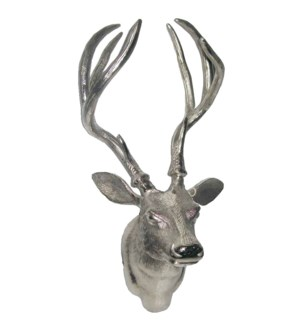 Reindeer Wall Head Aluminium Nickel Plated 19.5x13x11inch.