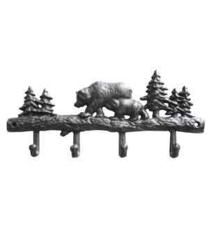 Bear 4 Hooks Rack Cast Iron Brown, 13.3x1x5.9inch.