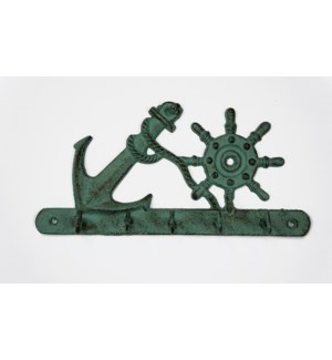 Nautical Hook Rack Rustic Green LC