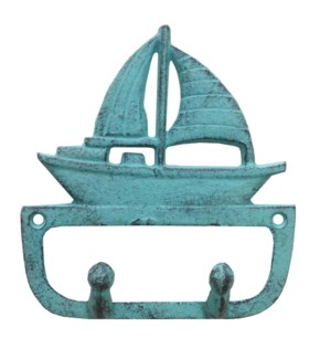 Sailboat Hook Hanger, Cast Iron, Turquoise, 5.3x1.1x5.6 Inches