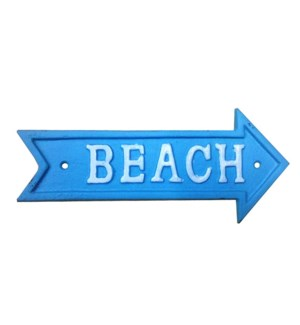 Beach Arrow Sign White on Blue Cast Iron 9.13x4inch.