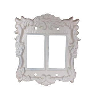 Tori Cast Iron Light Switch Cover, Double Antique White 5.6x6.2inch