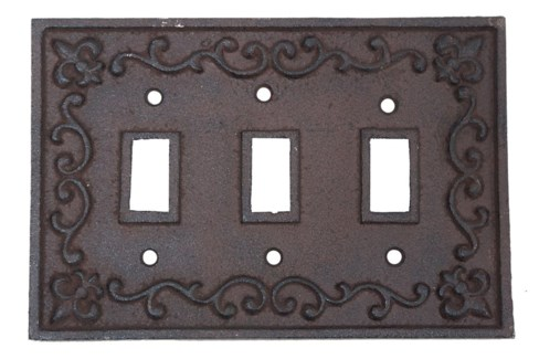 Kel Cast Iron Light Switch Cover, Triple, Brown 7.2x4.9inch