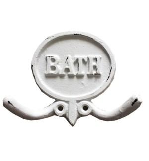 """BATH Double Hook, Ant.Wht"""