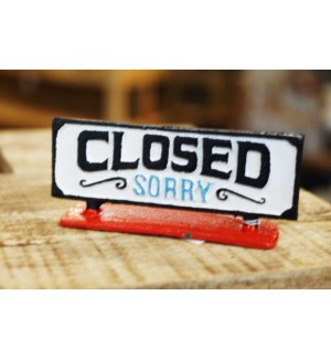 Open/Close Sign Stand, Red Base, 8.1x2x3.5 Inches