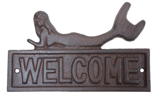 Mermaid Welcome Sign Brown Cast Iron 7.8x4.7inch Last Chance
