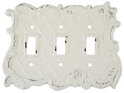 Triple Pole Switch Cover, Antique White 7.4x5.5x0 inches