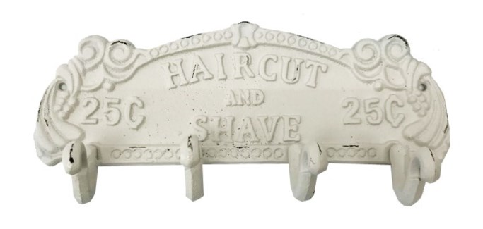 Classic Barber Hook Rack, Ant.Wht 11x2.6x4.8 inches