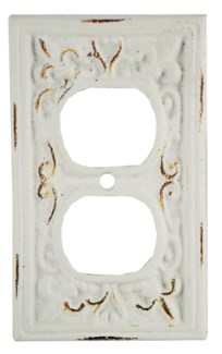 Kel Cast Iron Outlet Cover, Double, Antique White 2.8x4.8inch