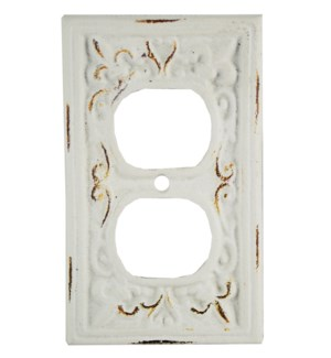 Kel Cast Iron Outlet Cover, Double, Antique White 2.8x4.8inch