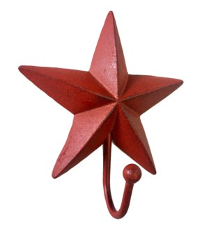 Star Hook,Red, Cast Iron, 5.2x2x6.3 Inches