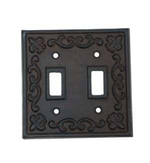 Kel Cast Iron Light Switch Cover, Double, Brown 4.7x4.7inch